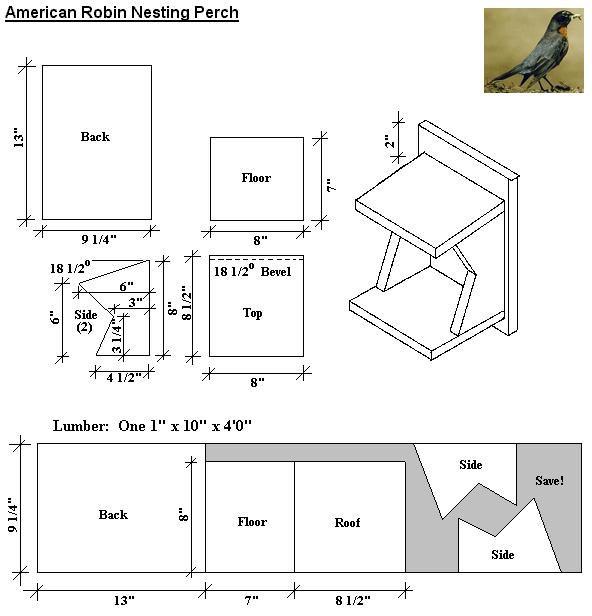5. robin bird house plans. robins and cardinals like an open bird