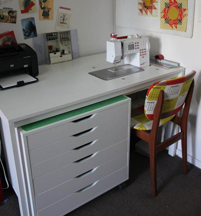 Ordinaire IKEA Sewing Room Furniture | Amy Gunsonu0027s Modified IKEA Table And Rolling  Drawer Unit