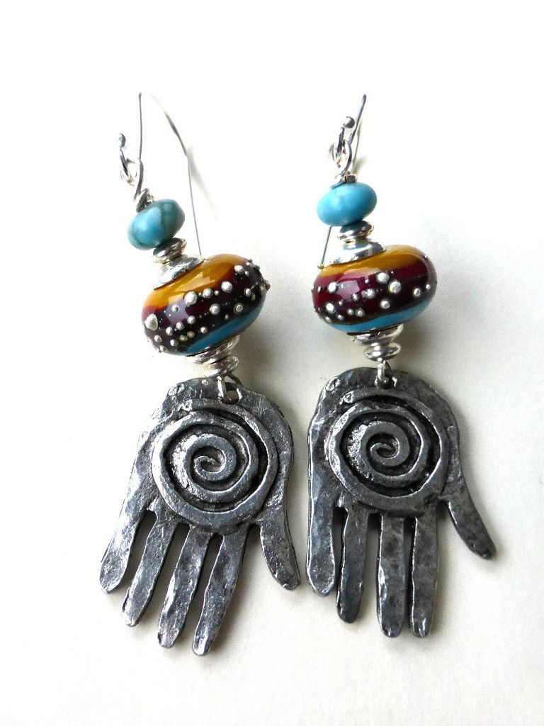 Silver hand charms, Lampwork glass and stone earrings. | Andria ...