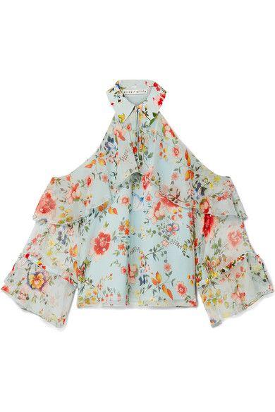 3dadcdcf3b607 Alice Olivia - Blayne Cold-shoulder Floral-print Silk-voile Blouse - Light  blue