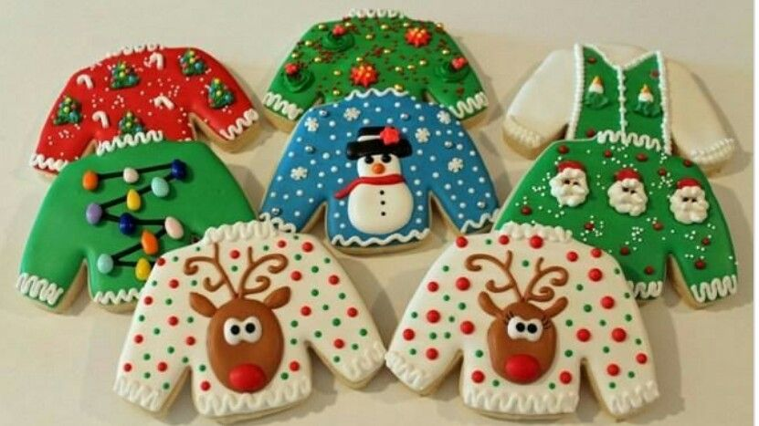 Decorate Christmas jumper shaped biscuits