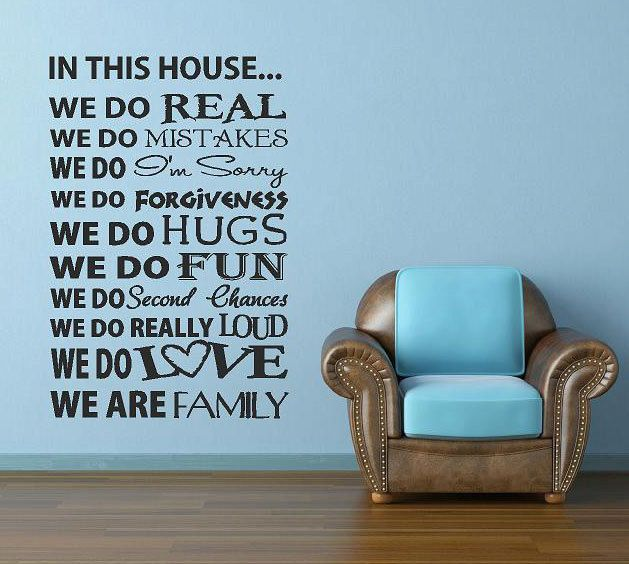 In This House Vinyl Lettering Custom Removable Decal Family Wall - Custom removable vinyl decals