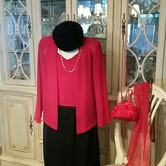2 piece top n jacket Red top with spagetti straps beaded trim. Lined with hidden side zipper for that  perfect fit great for a date on Valentines light weight jacket w/shoulder pads previousely owned worn once will list here for a short time I have a second hand clothing  Boutique in Vero beach . Most my reds n pinks will be there for Valentines sales so if you like it buy it now. Happy poshing Metaphor Tops Blouses