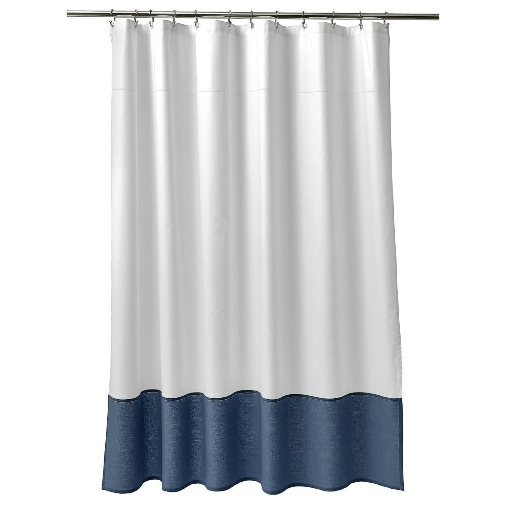 Shower Curtain Oxford Stitch White Blue 72 X72 Fieldcrest