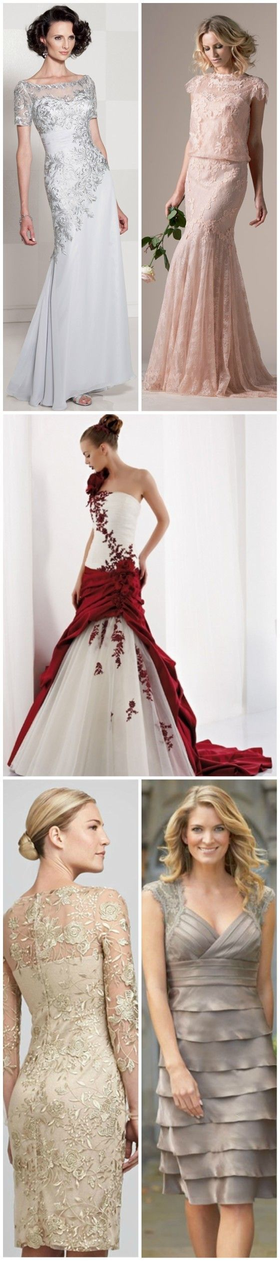 Color Wedding Dress for Bride Over 40, 50, 60, 70 Womens