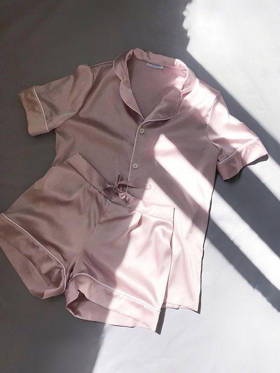 b9f3968ca2 Silk pajamas shorts Silk pajama pink Silk pyjamas Silk set Silk pajama set  Silk short pajama set Paj