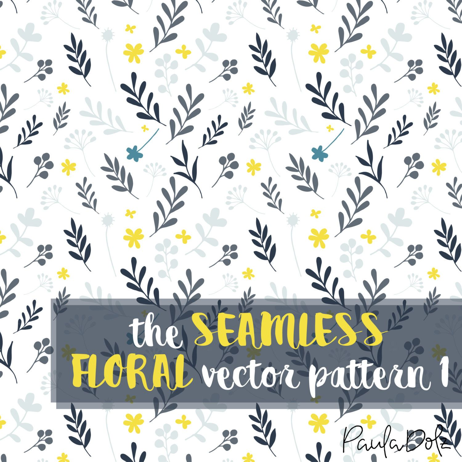 The Seamless Floral Vector Pattern 1 - Blue and Yellow flowers and leaves de PaulaDolz en Etsy