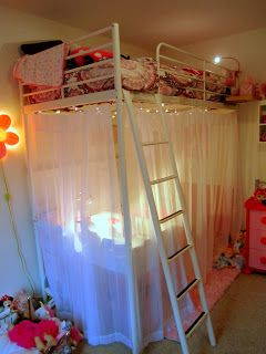 Abby S Room Makeover Girls Loft Bed Girl Bedroom Designs Loft Bed Curtains