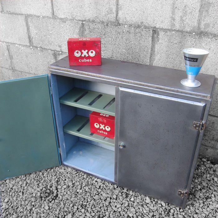 Industrial 1940s Vintage Steel Polished Metal Cabinet ...