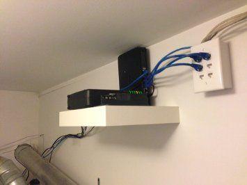 Ikea Lack White Floating Shelf Concealed Mounting For Storing Router Under Desk Ikea Guest Bedroom Office White Floating Shelves