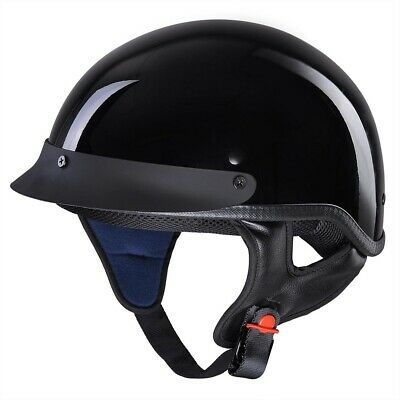 ILM Motorcycle half Helmet with Sunshield Quick Release Strap Half Face Fit for Bike Cruiser Scooter Harley DOT Approved L, Matte Black