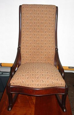 Antique Mahogany Empire Style Rocking Chair Upholstered