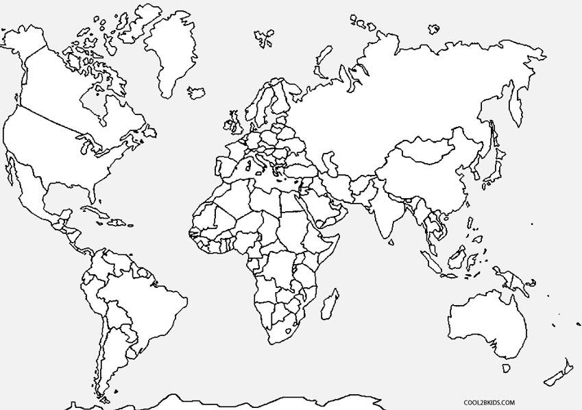 World Map Coloring Page For Kindergarten Jpg 849 598 Pixels