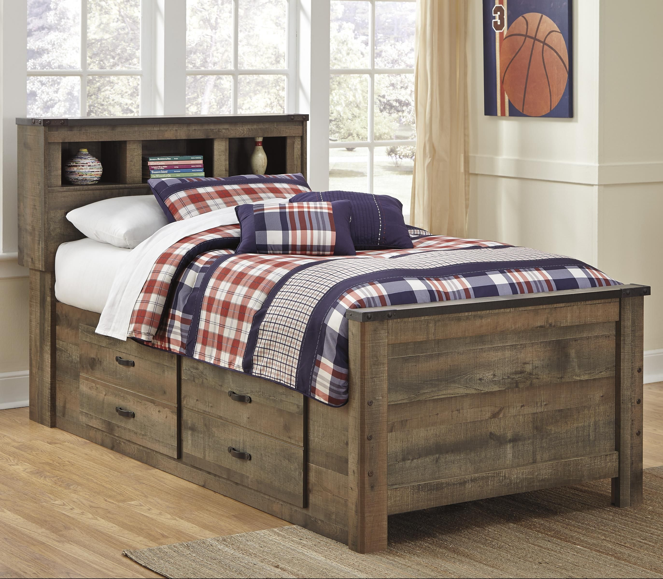 Trinell Twin Bookcase Bed with Under Bed Storage by Signature Design ...
