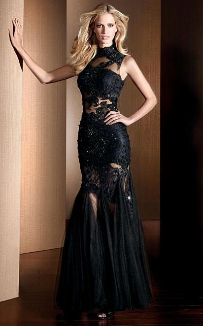 Claudine for Alyce Black Lace Illusion Mermaid Prom Dress 2054 at ...