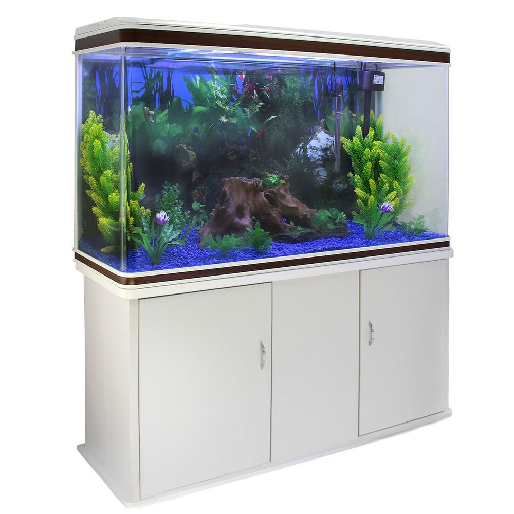 Fish tank aquarium white cabinet complete set up tropical for Fish tank cabinets