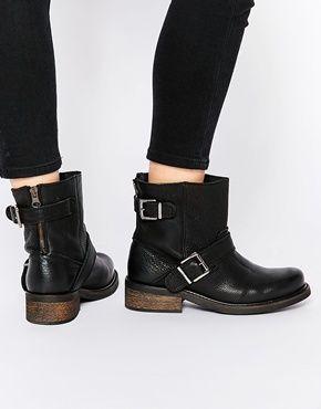 Vero Moda Sofia Leather Buckle Biker Boots Bottes De Motard, Bottes Pour  Femmes, Bottines d6bf9a18b390