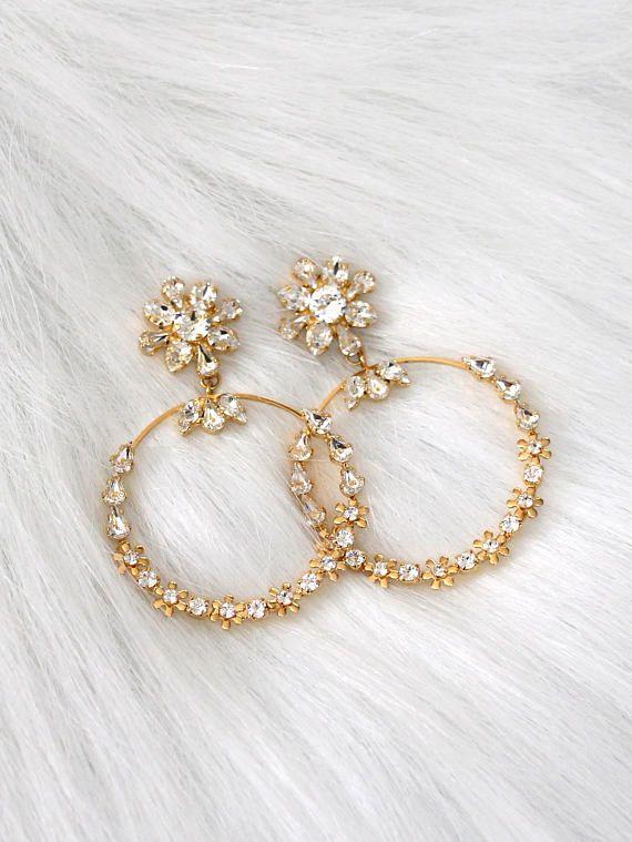 Bridal Hoop Earrings Bridal Statement Earringstrendy Bridal Etsy In 2020 Bridal Statement Earrings Diamond Shape Earrings Bridal Earrings