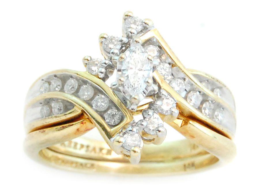 14k Gold  75cttw Marquise &  20ct Round Cut Diamond