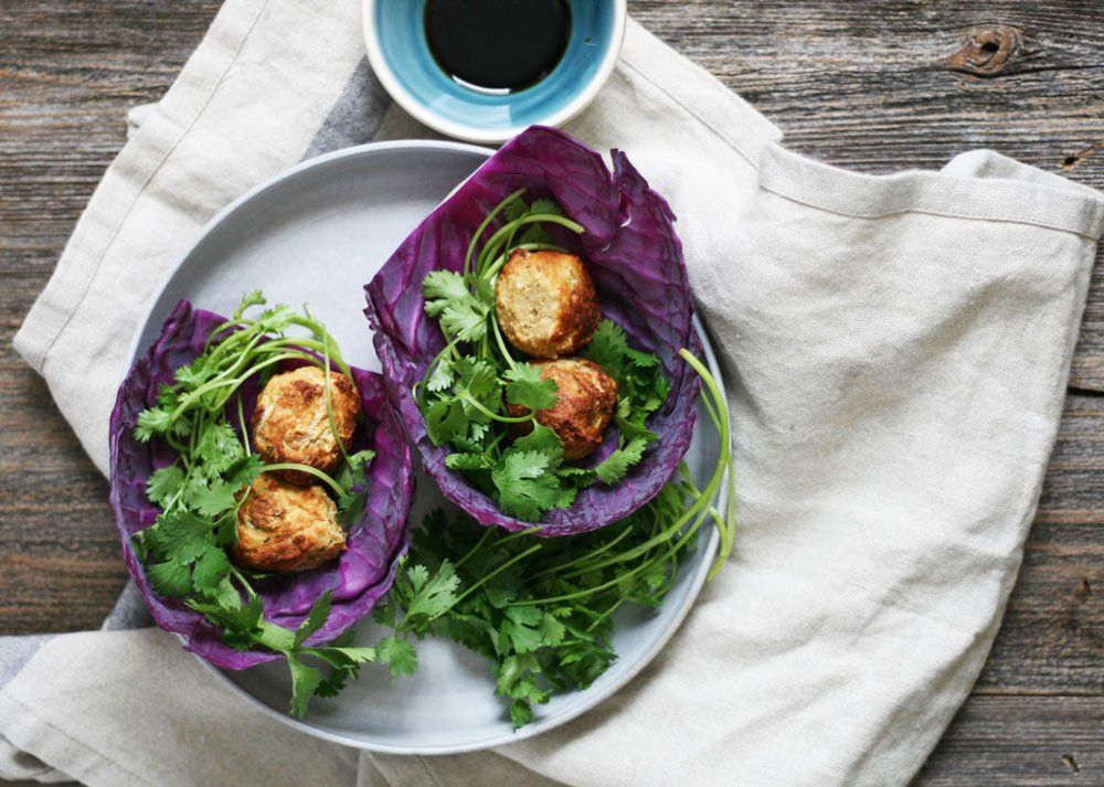 Savory and herb-packed chicken meatballs in thai flavored cabbage wrap! Can't wait to try this out tonight!