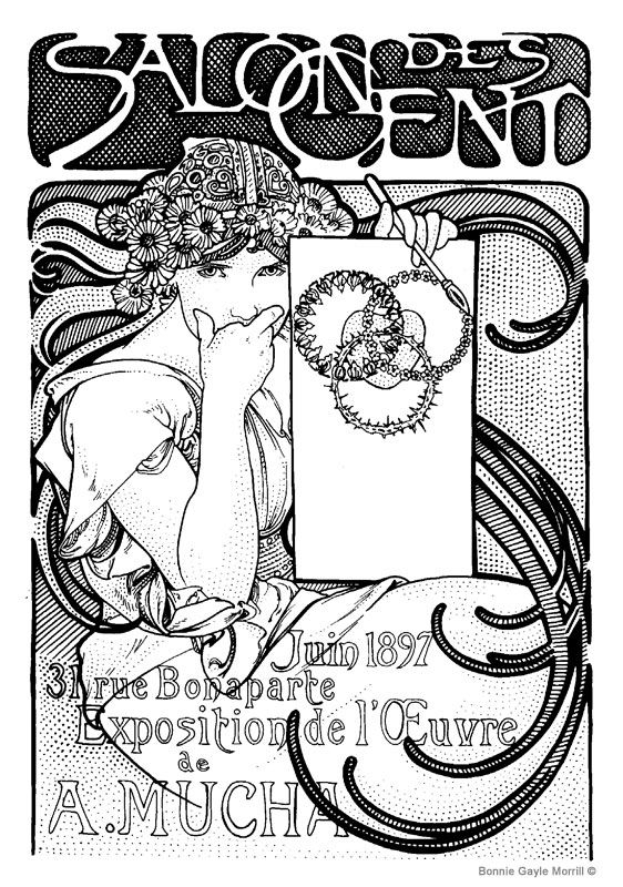 alphonse mucha coloring pages bing images