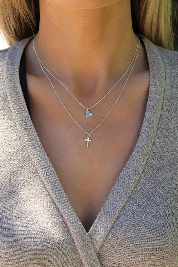 7911dcf7999fe Cross Necklace / Cross Heart necklace set / Sterling silver cross ...