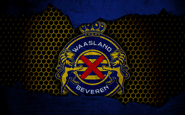 Lataa kuva Waasland-Beveren, 4k, logo, ESL Pro League, jalkapallo, football club, Belgia, grunge, RS Waasland-Beveren, metalli rakenne, Waasland-Beveren FC