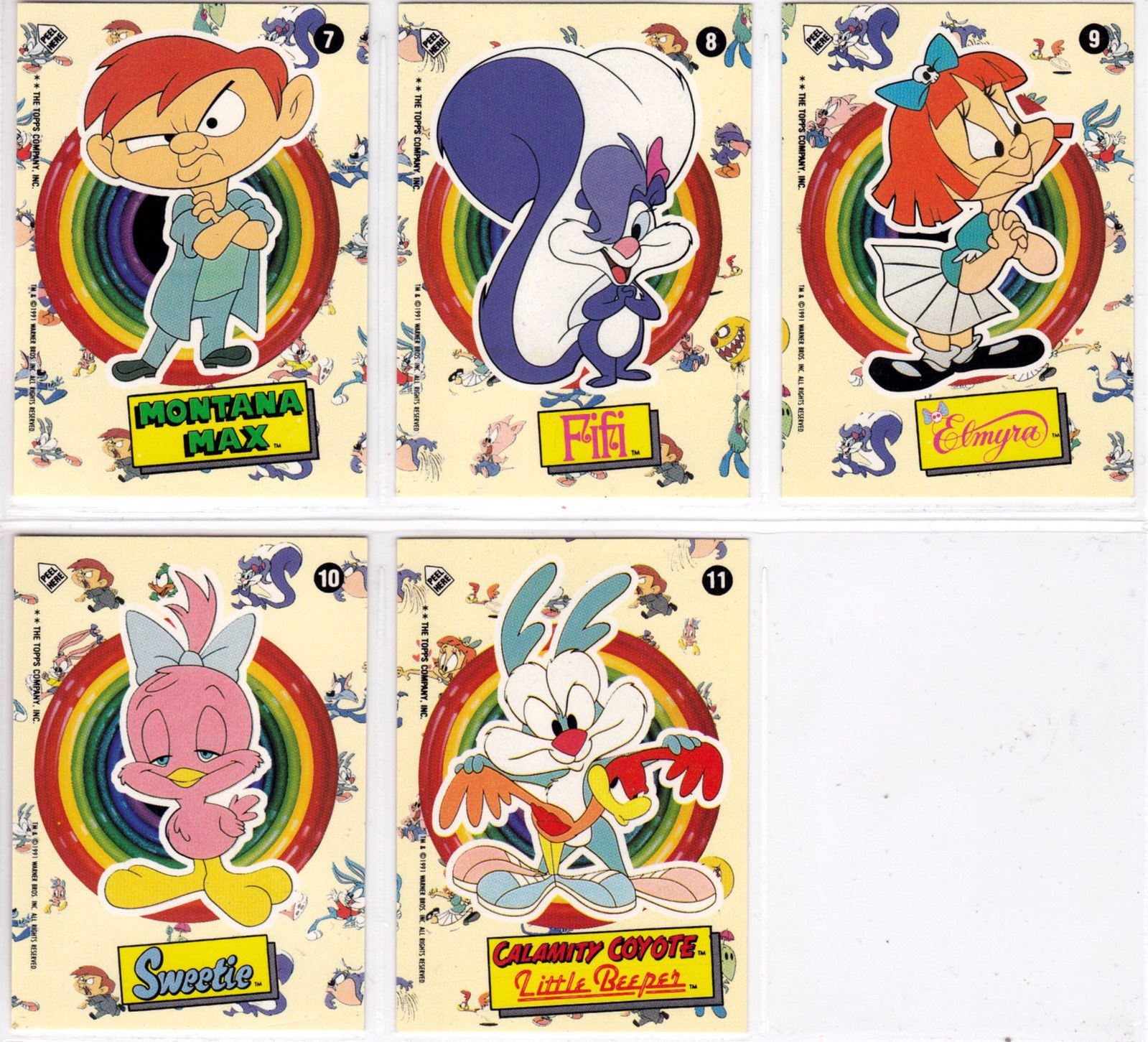 Details about  /TINY TOON ADVENTURES 1991 TOPPS BASE CARD /& STICKER SET OF 77 11 AN TOONS