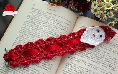 PINK ROSE CROCHET: Papai Noel Marcador de Livro