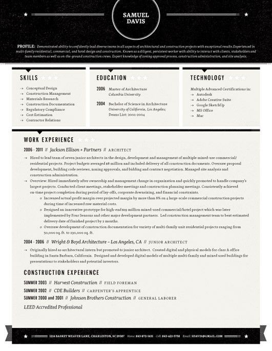 Stars Template, Inspiration and Resume ideas - interior design resume template