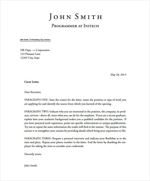 short stylish latex cover letter sample pdf template free download - template for a cover letter