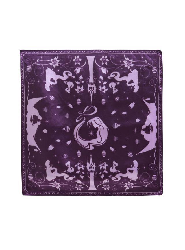 Purple satin bandana from Disney with Tangled print design.