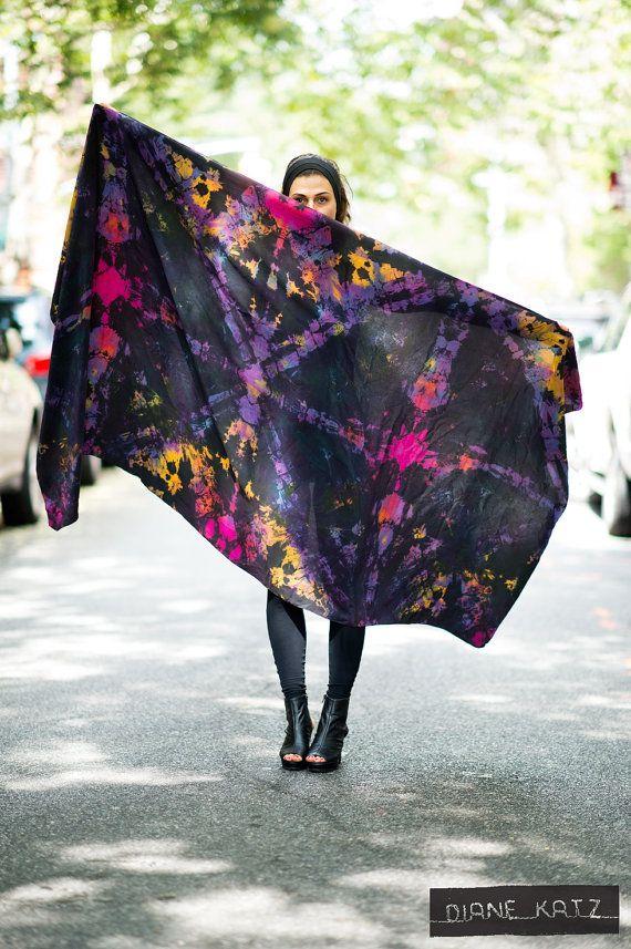 Silk Tie Dye Black Neon Galactic Scarf Wrap by DianeKatzDesign, $225.00