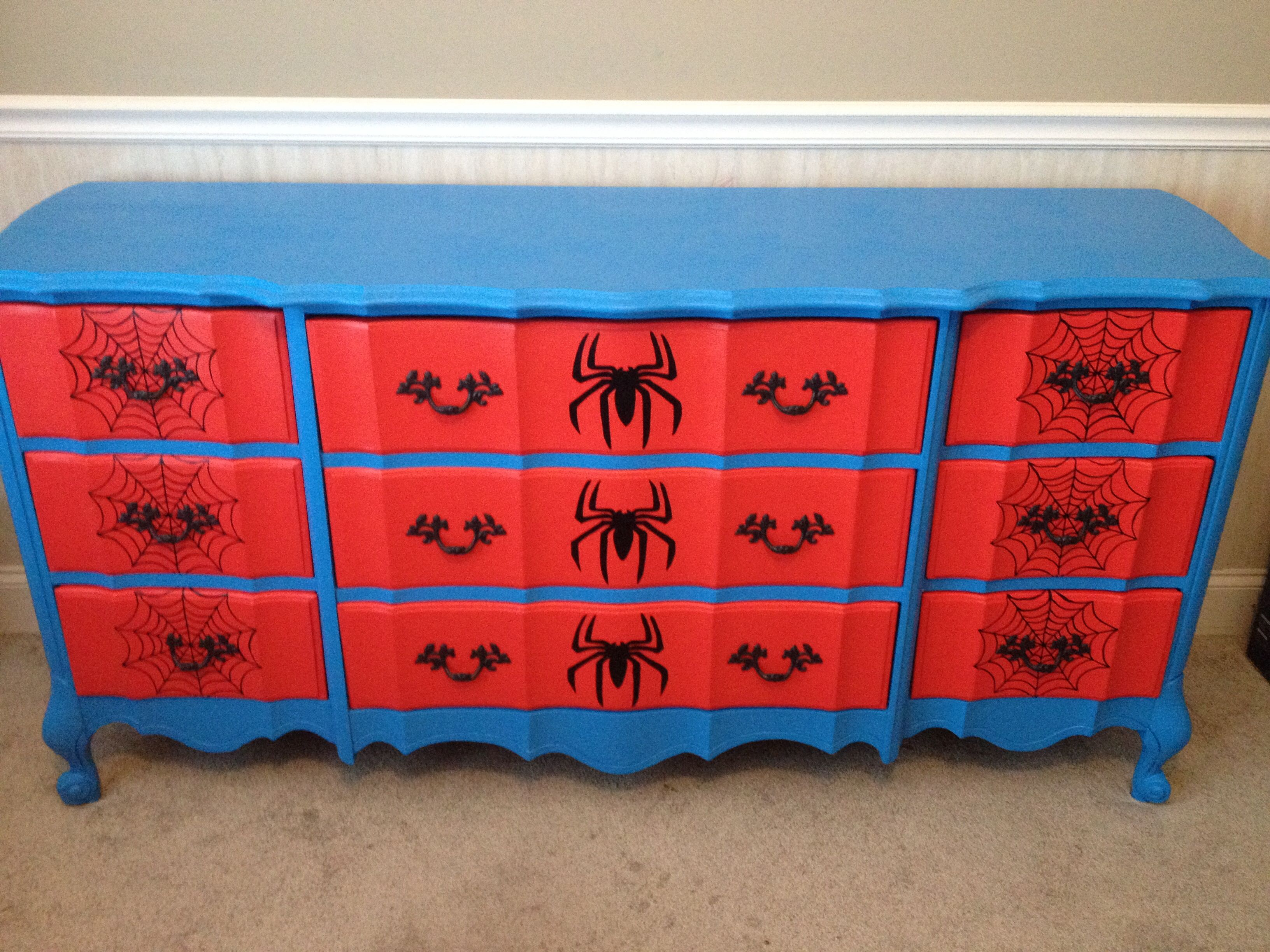 Spiderman Dresser I Painted For Little Man's Room Furniture Pleasing Spiderman Bedroom Furniture Decorating Design