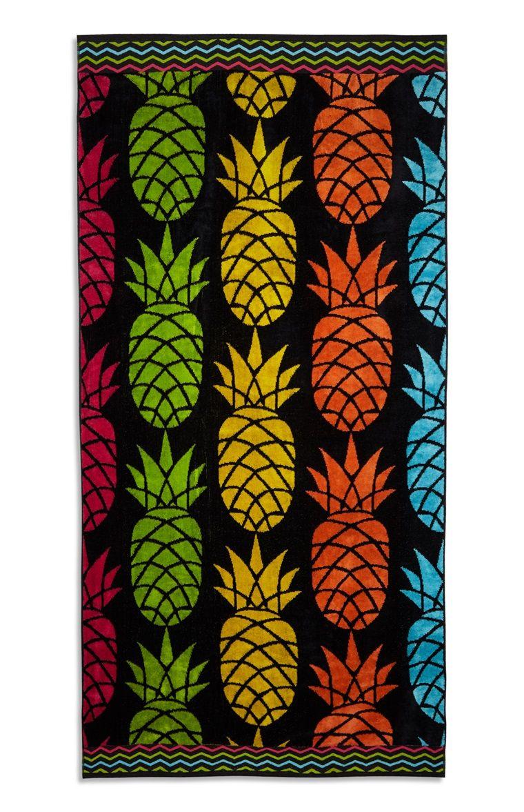 Zwarte strandhanddoek met ananas