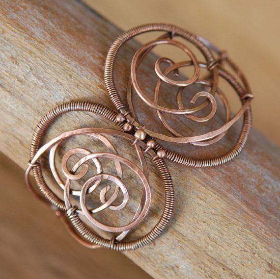 Artisan Copper Bracelet  Butterfly Wire Wrapped by NeroliHandmade, $45.00