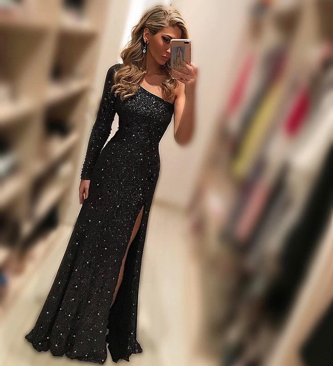 Cheap prom dresses black evening dressesone shoulder beads and