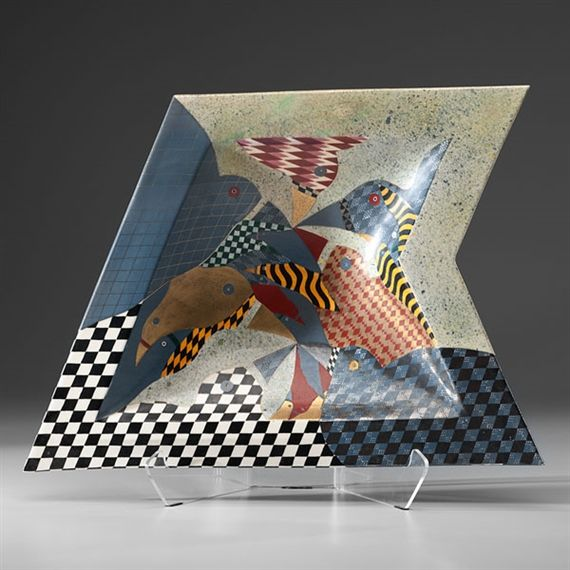 Zig-Zag Platter with Birds - Ralph Bacerra