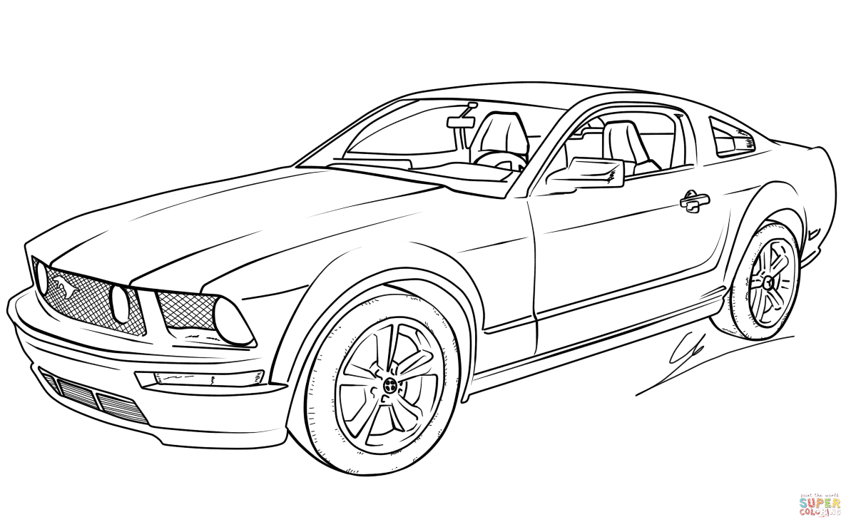 Ford Mustang GT  Super Coloring  Cars coloring pages, Mustang