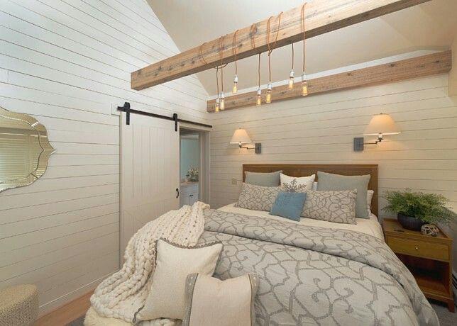 Modern Farmhouse Bedroom Barn Door Beams Edison Lights Renovation