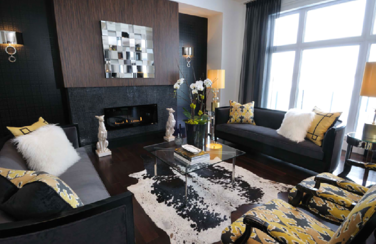 Yellow And Black Living Room Contemporary Living Room