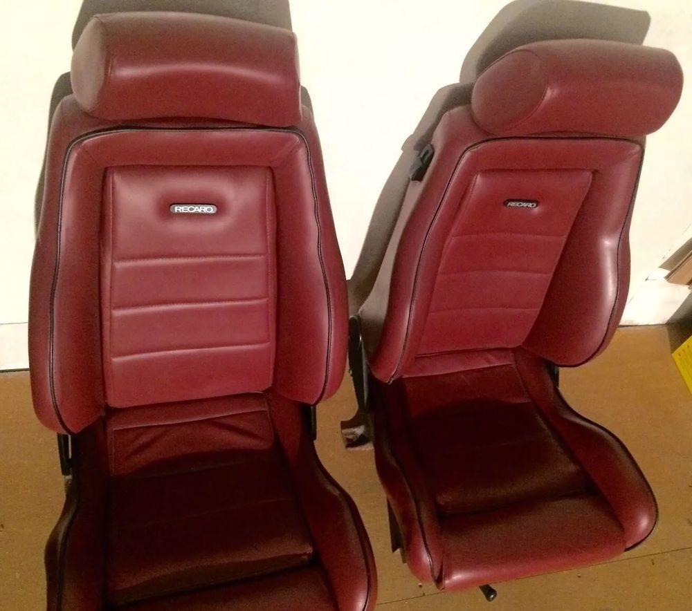 Recaro Leather Red Burgundy Seats Classic Bucket Seat