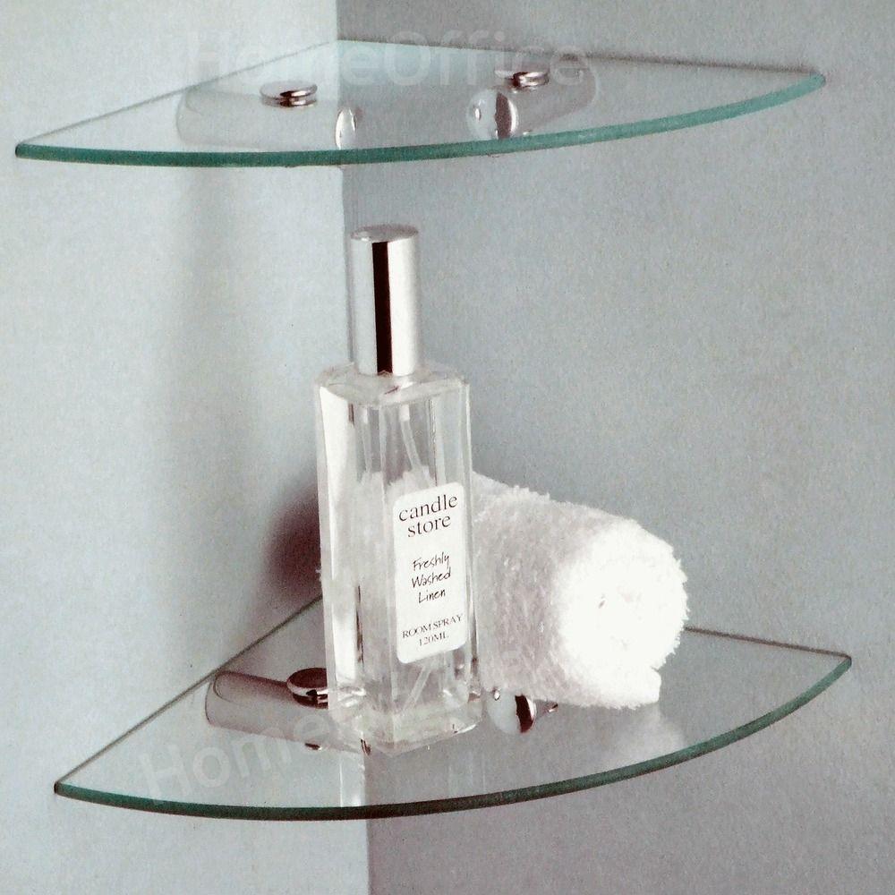 2 Tier Glass Corner Shelves Ideal Bathroom etc Shelf Tempered Glass ...