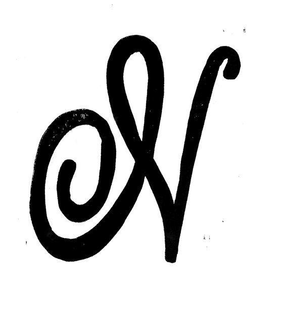 linocut print letter n monogram decorative lettering 8x10 via etsy