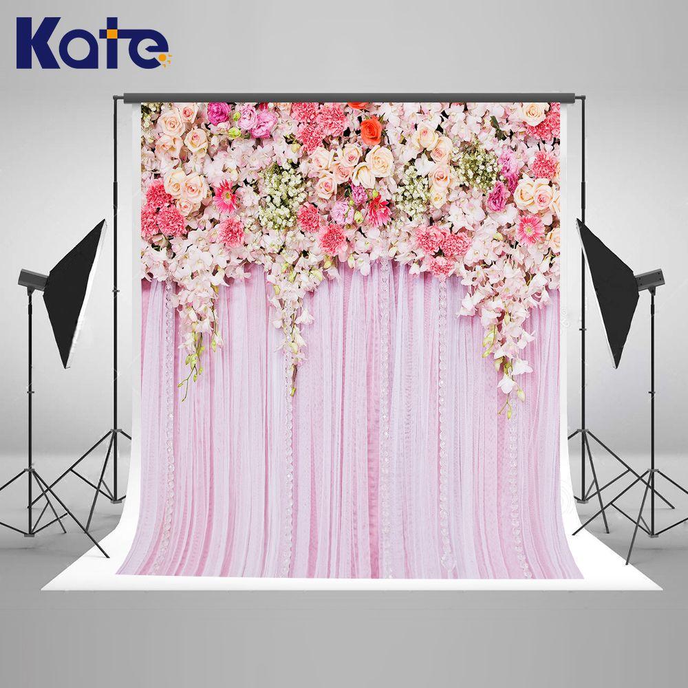 Kate Wedding Backdrops Photo Background Flower Backdrop Pink Curtain Backgrounds Pastel