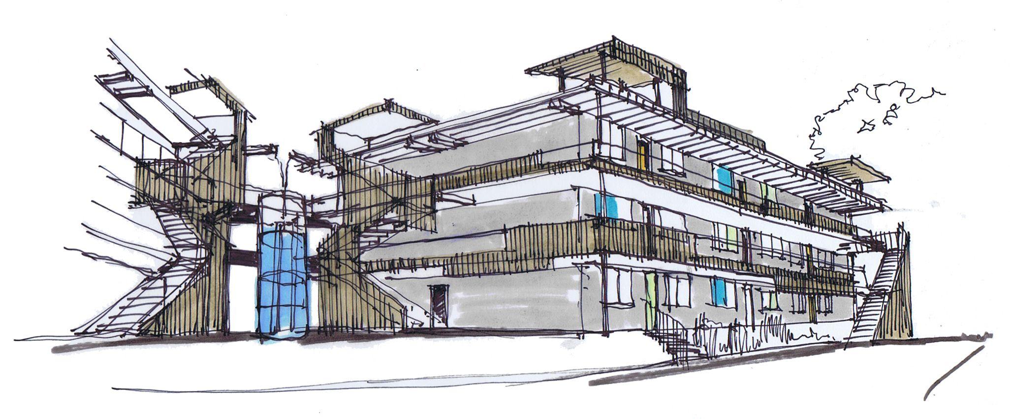 Ecosketchjpg  Eskiz Sketch Croquis - Modern building sketches