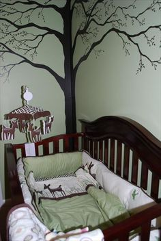 Deer And Forest Nursery Themes The Tree Already Have This Crib Set Wall Color