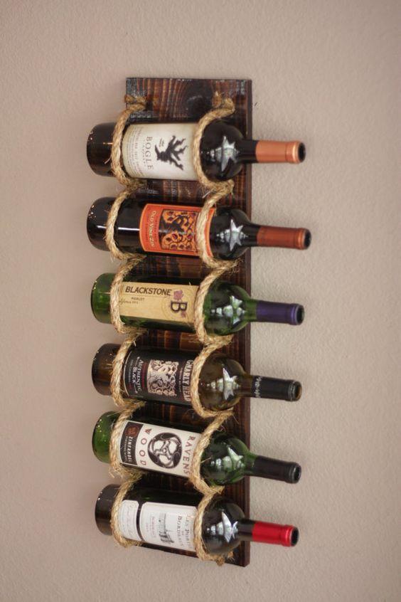 Wall Wine Rack 6 Bottle Holder Storage Display