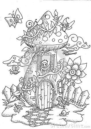 Faerie Mushroom House Coloring Page
