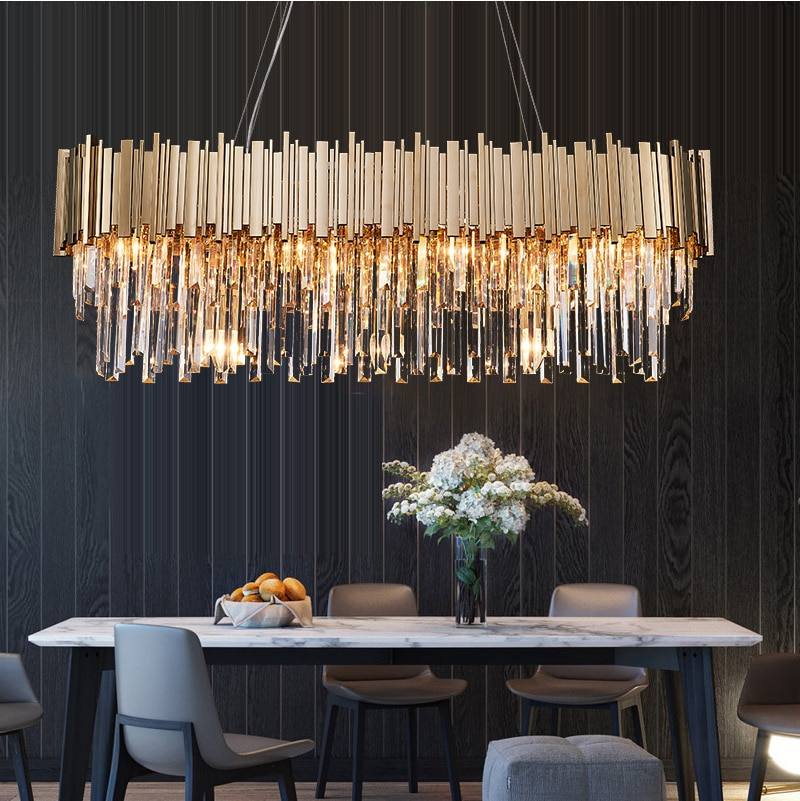 Phube Lighting Modern Crystal Chandelier Luxury Oval Gold Hanging Light Fixtures Dining Room Suspension Led Lustres Shawn Penoyer Interiors Modern Crystal Chandelier Crystal Chandelier Dining Room Hanging Light Fixtures